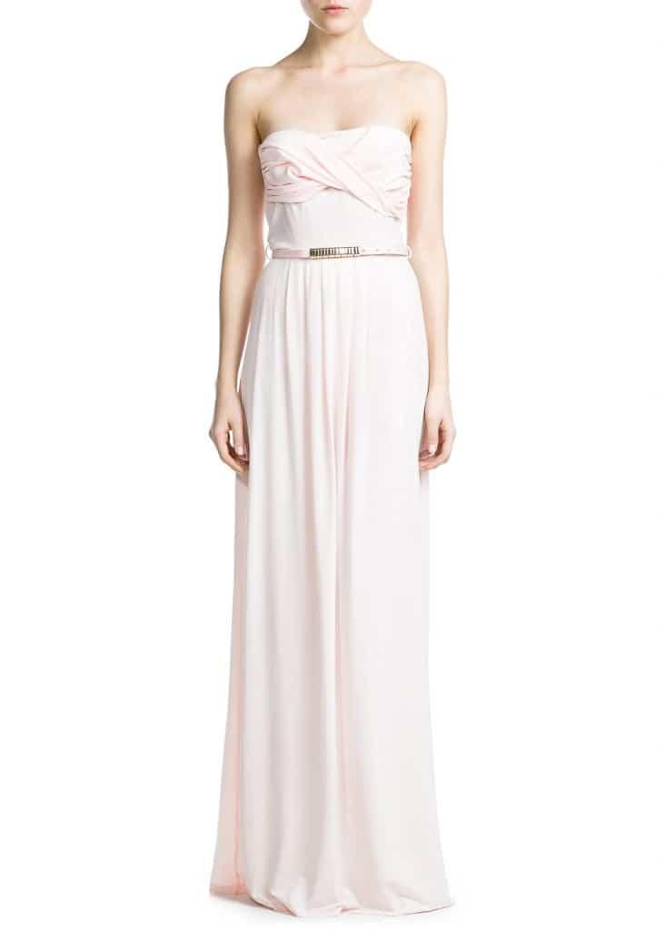 vestido de boda barato con escote palabra de honor drapeado