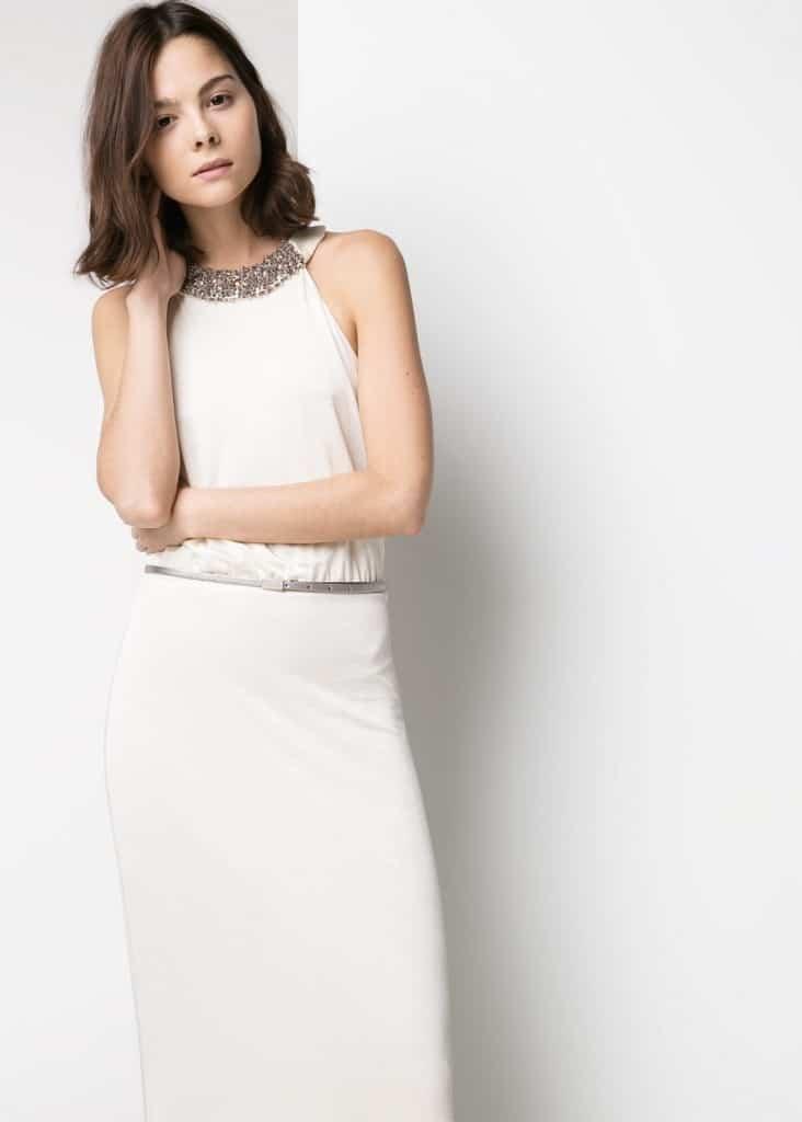 vestido de novia barato - crudo y plateados