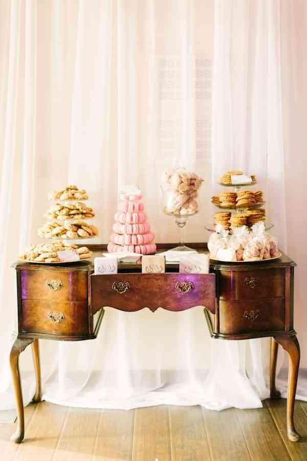 boda rosa y blanco - mesa de los dulces