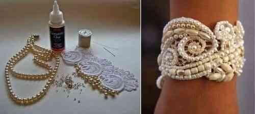 pulsera de perlas y encaje