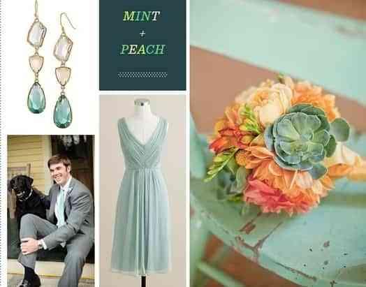 decoración de bodas color menta y durazno
